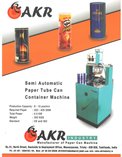 AKR SEMI AUTOMATIC PAPER TUBE CAN CONTAINER MACHINE