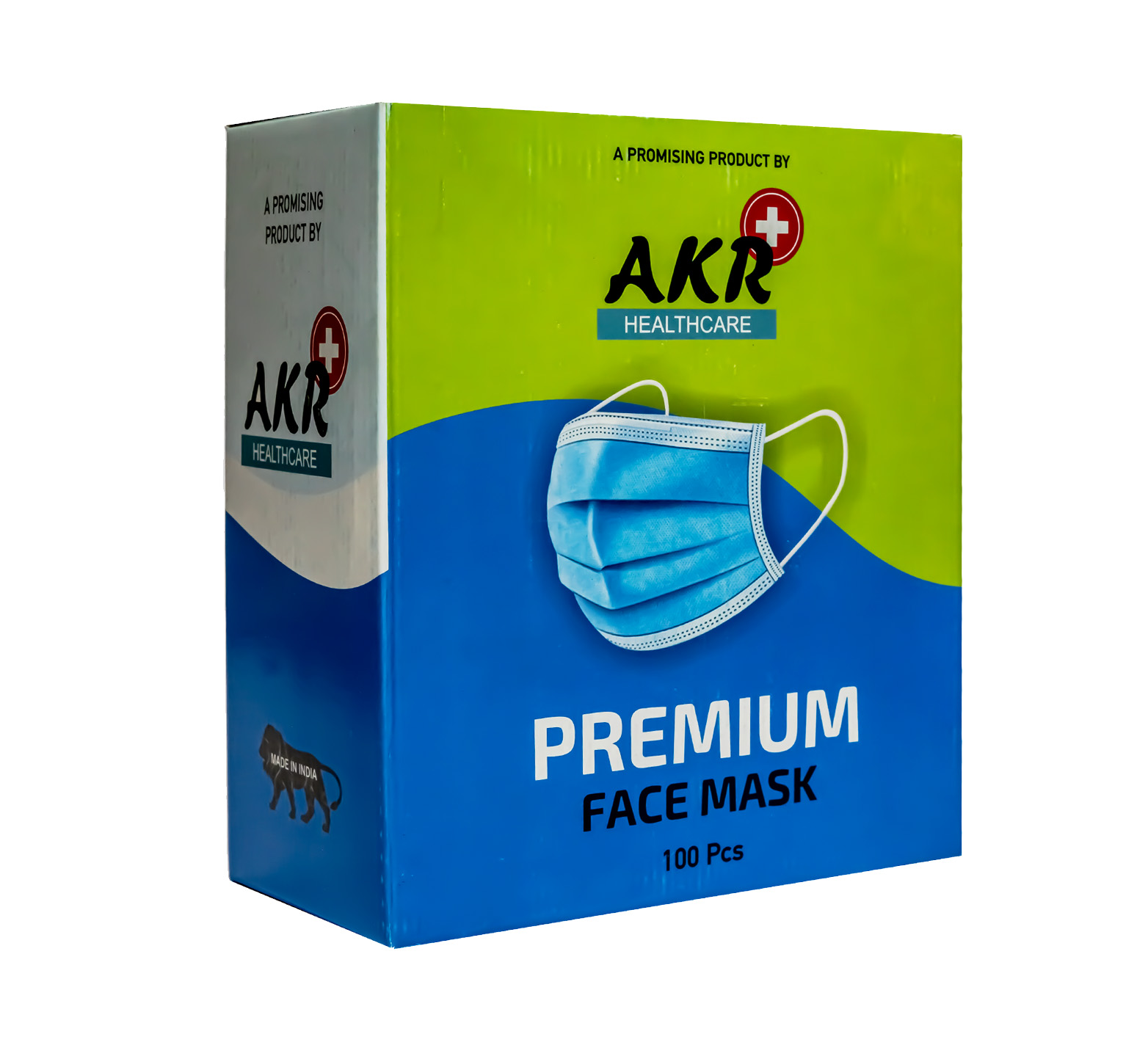 Premium Face Mask, Blue, Loop 3 Ply